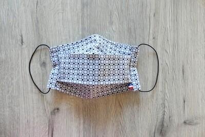 Masque à 2 plis lavable en coton écologique fait main - géométrique gris