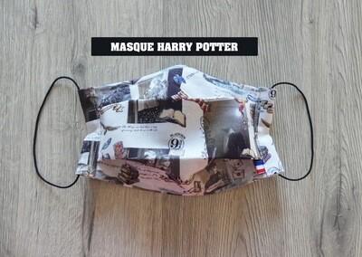 Masque à 2 plis lavable en coton écologique fait main - HARRY POTTER