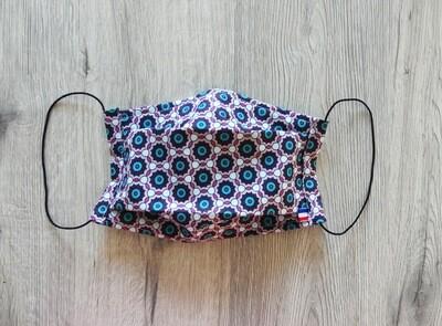 Masque à 2 plis lavable en coton écologique fait main - géométrique hexagone