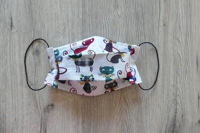 Masque à 2 plis lavable en coton écologique fait main - les chats