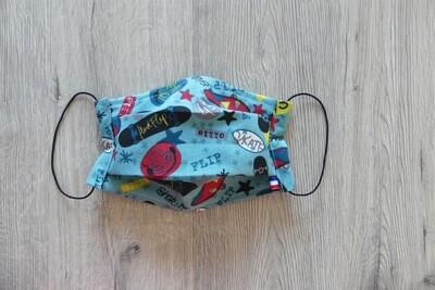 Masque à 2 plis lavable en coton écologique fait main - skateboard