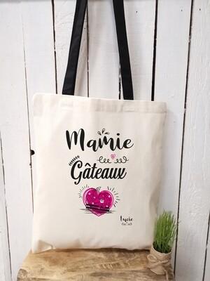 "Tote bag ""Mamie gâteaux"" personnalisable"
