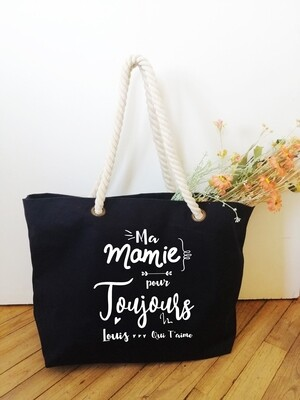 """Sac shopping style marin """"Mamie toujours"""" personnalisable"""