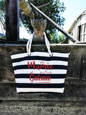 """Sac shopping style marin """"Mamie gâteaux"""" personnalisable"""