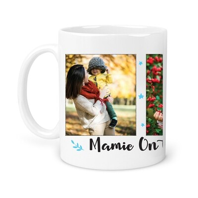 Mug mamie 3 photos personnalisable