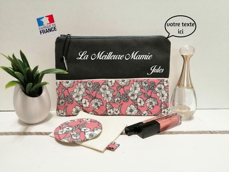 Trousse avec votre texte - coton motif rose vintage