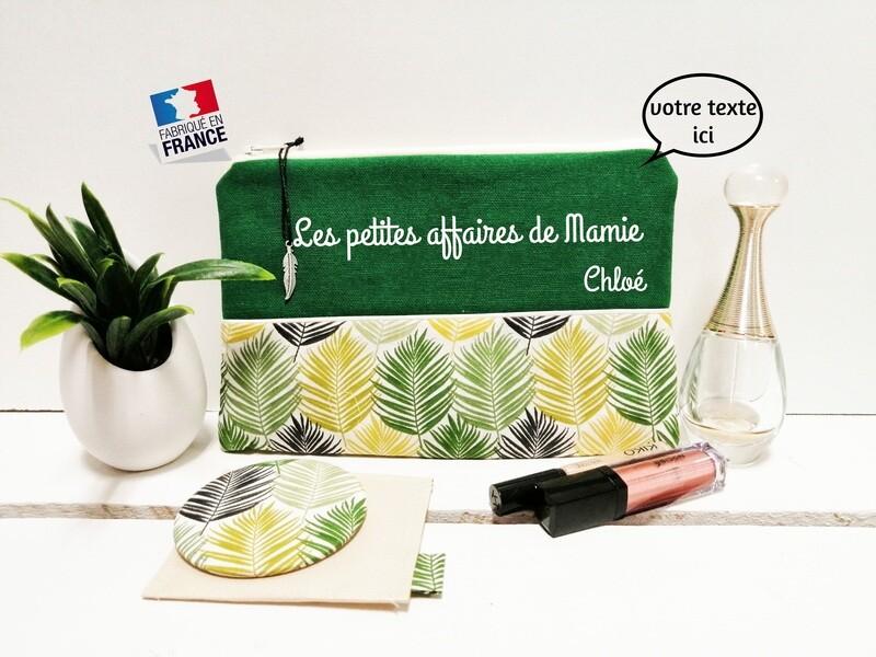 Trousse avec votre texte - coton motif feuille vert