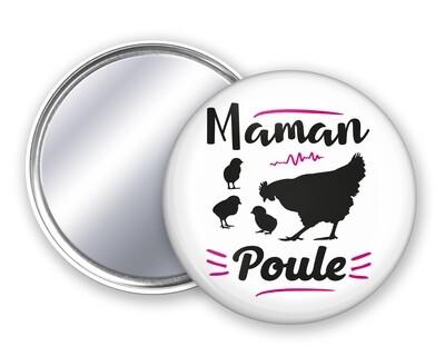 Badge miroir maman Poule