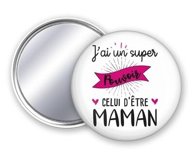 Badge miroir maman Pouvoir
