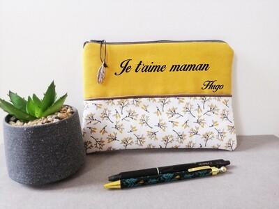 Trousse avec votre texte -  coton motif bouquet moutarde