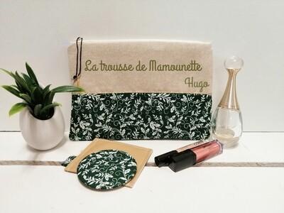 Trousse avec votre texte - coton motif forêt vert
