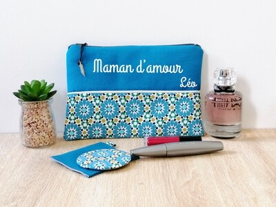 Trousse avec votre texte - coton motif fleur géométrique turquoise