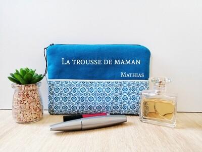 Trousse avec votre texte -  coton motif mosaïque turquoise