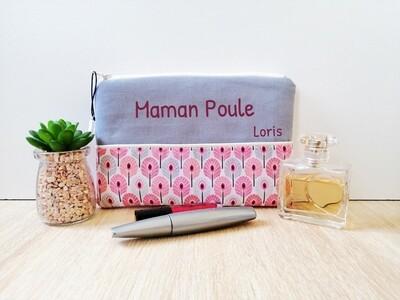 Trousse avec votre texte -  coton motif paon rose