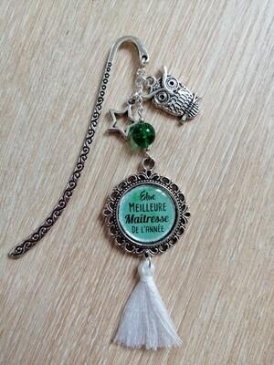 """Marque Page """"Elue meilleure maîtresse de l'année"""" vert"""