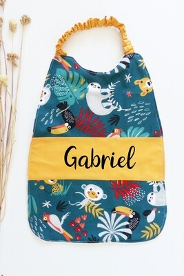 Bavoir serviette prénom personnalisé coton éponge motif animaux de la jungle