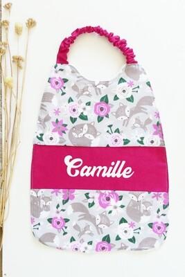 Bavoir serviette prénom personnalisé coton éponge motif renard rose