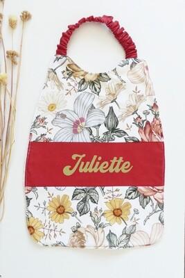 Bavoir serviette prénom personnalisé coton éponge motif fleur