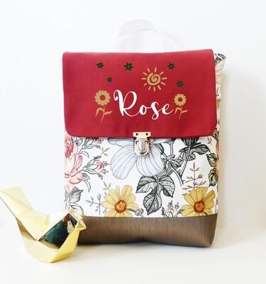 Sac à dos avec rabat en coton et simili cuir avec prénom - motif fleur