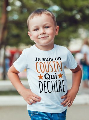 Tee shirt enfant un cousin qui déchire