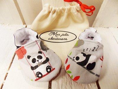 Chaussons bébé panda en coton et cuir