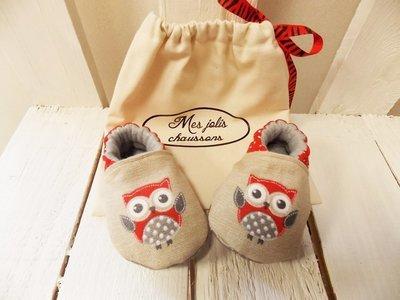 Chaussons bébé motif chouette rouge en coton et cuir