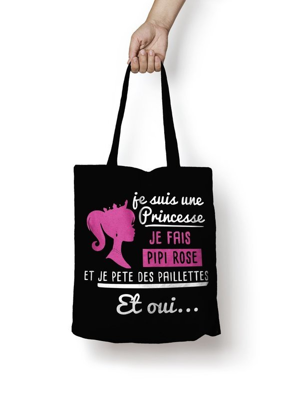 Sac shopping princesse pipi rose