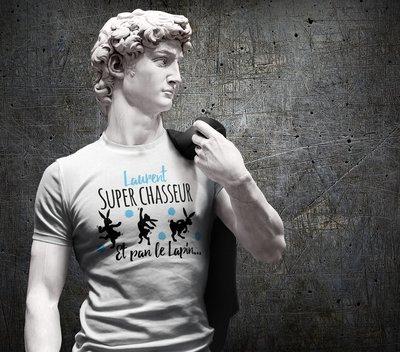 Tee shirt homme super chasseur prénom personnalisable