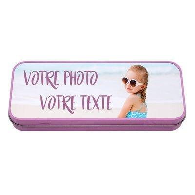 Boîte à crayons en métal rose personnalisable avec vos photos et texte