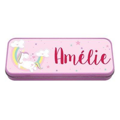 Boîte à crayons en métal rose licorne,prénom personnalisable