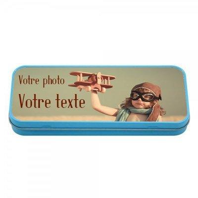Boîte à crayons en métal bleu personnalisable avec vos photos et texte