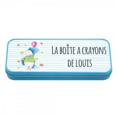 Boîte à crayons en métal bleu petit hippopotame, prénom personnalisable
