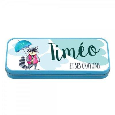 Boîte à crayons en métal bleu petit laveur, prénom personnalisable