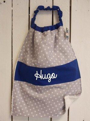 Bavoir serviette prénom personnalisé coton éponge gris avec des étoiles