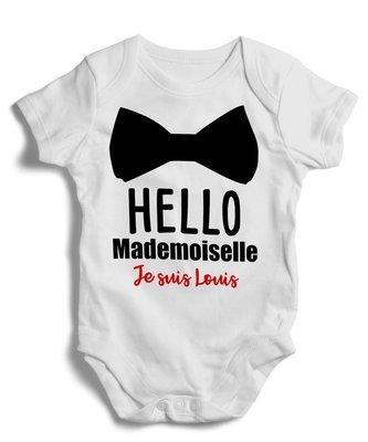 Body grenouillère hello mademoiselle, prénom personnalisable