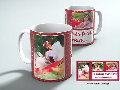 Mug personnalisable avec 3 photos et votre texte, fond bordeaux