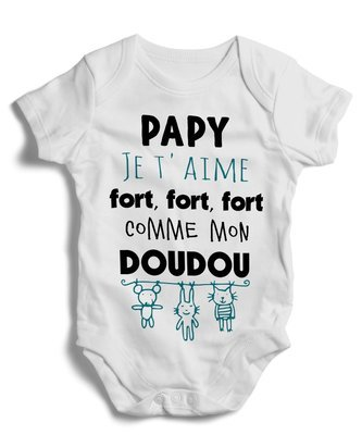 Body grenouillère papy je t'aime fort, fort, fort