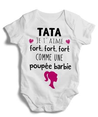 Body grenouillère tata je t'aime fort, fort, fort