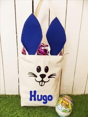 Sac lapin de Pâques avec prénom bleu