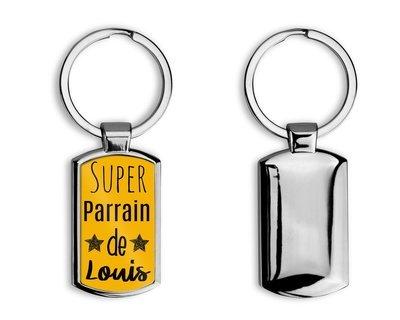 """Porte clés en métal super parrain """"Prénom personnalisable"""""""