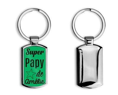 """Porte clés en métal super papy """"Prénom personnalisable"""""""