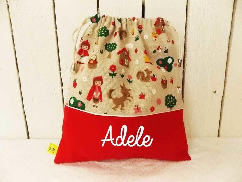 Sac à doudou / sac a goûter prénom personnalisable motif chaperon rouge.