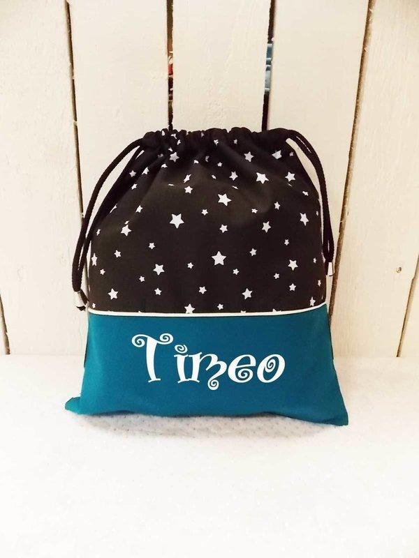 Sac à doudou / sac a goûter prénom personnalisable motif étoile turquoise