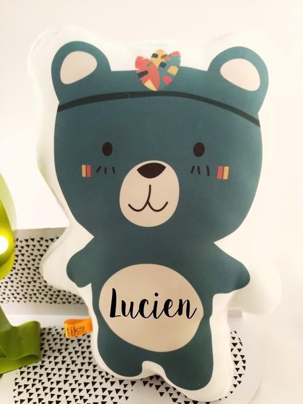 Doudou ours avec prénom personnalisable