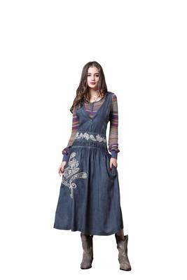 Hooded denim skirt