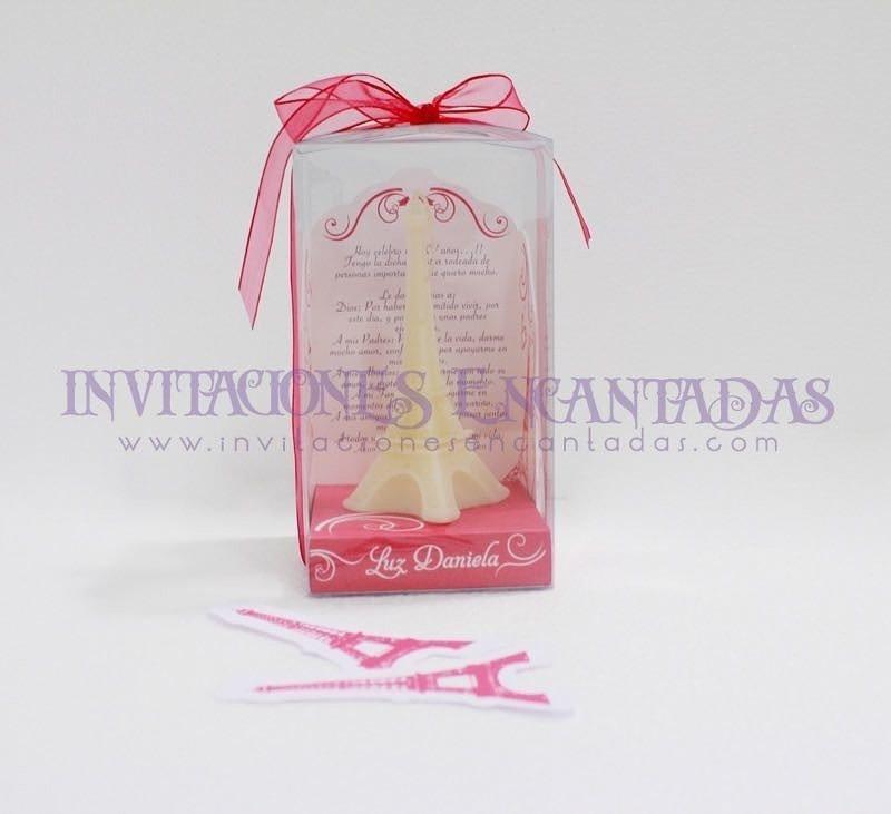 Invitación XV Caja Acetato Vela Torre Eiffel 12 cms
