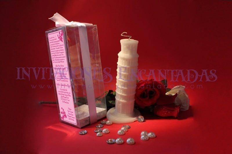 Invitación XV Caja Acetato Vela Torre Pisa
