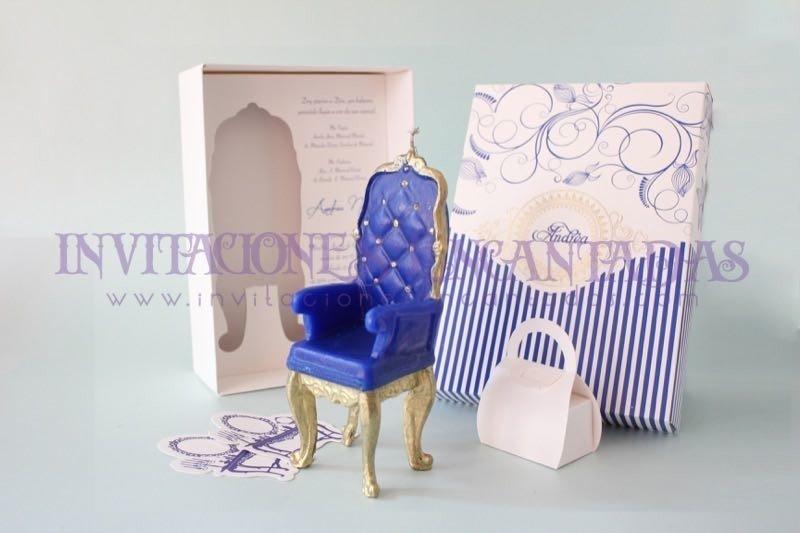 Invitación de XV Caja con Vela Silla Princess