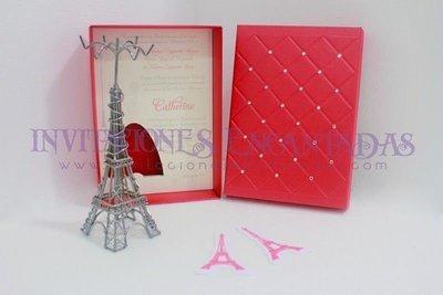 Invitación de XV Caja con alhajero Torre Eiffel