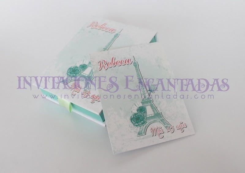 Invitación de XV con Caja mediana Paris